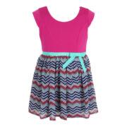 Pinky Chiffon Zig Zag Print Dress - Girls 2t-6