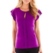 Worthington® Cap-Sleeve Cutout Top