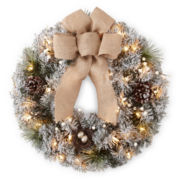 "Snowy Day Trenton 24"" Pre-Lit Flocked Wreath"