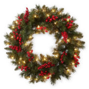 "Peppermint Twist Vienna 24"" Outdoor Pre-Lit Wreath"