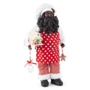 "18"" Baker African American Santa Figurine with LED Gingerbread House"