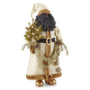 "36"" Winter-White Suit African American Santa Figurine"