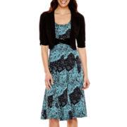 Perceptions 3/4-Sleeve Paisley Print Buckle Jacket Dress