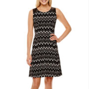 Alyx® Sleeveless Chevron Print Trapeze Dress
