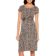Perceptions Short-Sleeve Scroll Print Dress