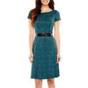 Perceptions Short-Sleeve Belted Jacquard Fit-and-Flare Dress