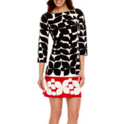 London Style Collection 3/4-Sleeve Petal Print Ponte Knit Shift Dress
