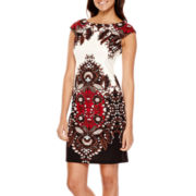 London Style Collection Sleeveless Paisley Print Sheath Dress