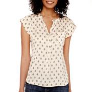 Liz Claiborne® Cap-Sleeve Paisley Blouse - Tall