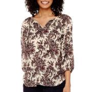 Liz Claiborne® 3/4-Sleeve Smocked Paisley Print Top - Tall