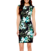 Liz Claiborne® Cap-Sleeve Floral Print Scuba Sheath Dress