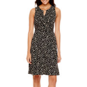 Liz Claiborne® Sleeveless Keyhole Dot Print Fit-and-Flare Dress