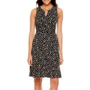 Liz Claiborne® Sleeveless Keyhole Dot Print Fit-and-Flare Dress