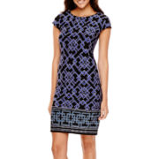 Liz Claiborne® Cap-Sleeve Geometric Border Print Shift Dress