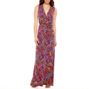 Liz Claiborne® Sleeveless Belted Geometric Print Maxi Dress