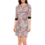 Liz Claiborne® Elbow-Sleeve Belted Sheath Dress