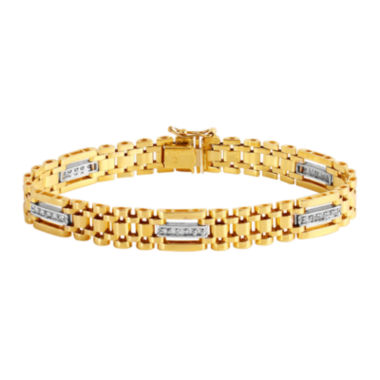 jcpenney.com | Mens 1/2 CT. T.W. Diamond 10K Gold Chain Link Bracelet