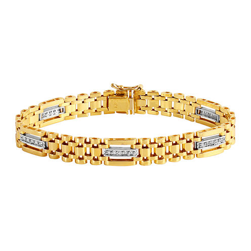 Mens 1/2 CT. T.W. Diamond 10K Gold Chain Link Bracelet