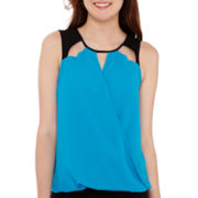 XOXO® Sleeveless Cut-Out Contrast Top