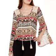 Olsenboye® Bell-Sleeve Boho Lace Peasant Top