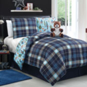 Zoomates Brady the Bear Plaid Reversible Comforter Set