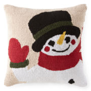 North Pole Trading Co. Hooked Snowman Decorative Pillow