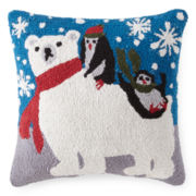 North Pole Trading Co. Hooked Polar Bear and Penguins Decorative Pillow