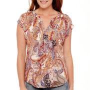 Liz Claiborne® Sleeveless Paisley Studded Blouse