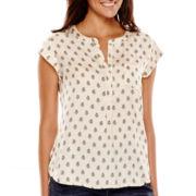 Liz Claiborne® Cap-Sleeve Paisley Blouse