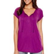 Liz Claiborne® Short-Sleeve Tie-Front Henley