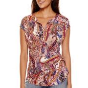 Liz Claiborne® Short-Sleeve Paisley Print T-Shirt