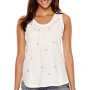 Liz Claiborne® Sleeveless Beaded Woven Knit T-Shirt