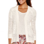 Liz Claiborne® 3/4-Sleeve Pointelle Open-Front Cardigan