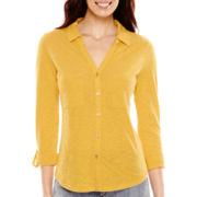 Liz Claiborne® Long-Sleeve Button-Front Knit Shirt - Tall