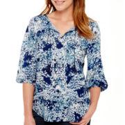 Liz Claiborne® 3/4-Sleeve Smocked Paisley Print Top