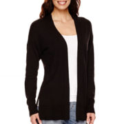 Liz Claiborne® Long-Sleeve Split-Hem Open-Front Cardigan - Tall