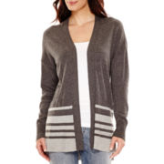 Liz Claiborne® Long-Sleeve Split-Hem Open-Front Cardigan