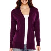 Liz Claiborne® Long-Sleeve Split-Hem Open-Front Cardigan - Tall