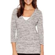 Liz Claiborne® 3/4-Sleeve Kangaroo-Pocket Pullover