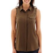Liz Claiborne® Sleeveless Woven Blouse