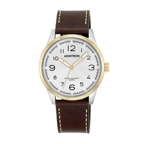 Armitron® Men's  Brown And White Leather Strap Watch 20/5126SVTTBN
