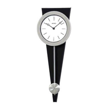 jcpenney.com | Seiko® Silver/black Wall Clock With Pendulum Qxc111slh