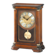 Seiko® Mantal Clock With Duel Chimes And Pendulum Brown Qxq008blh