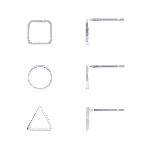 a.n.a® 3-pr. Silver-Tone Open Stud Earrings