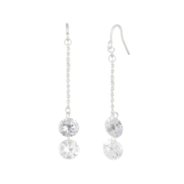 jcpenney.com | a.n.a® Cubic Zirconia Silver-Tone Chain Drop Earrings