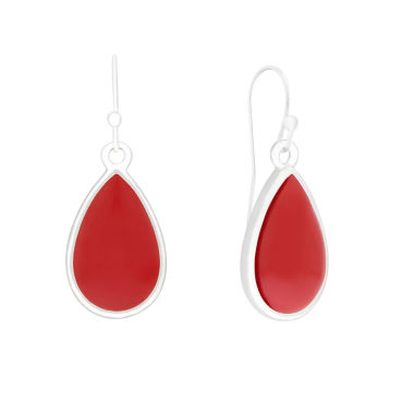 jcpenney.com | Liz Claiborne® Red and Silver-Tone Single Drop Earrings