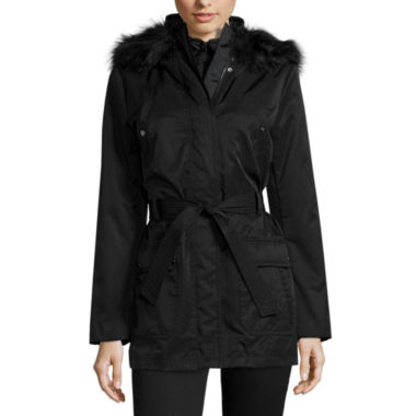jcpenney.com | a.n.a® Long-Sleeved Faux-Fur-Trim Belted Parka