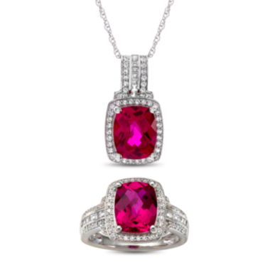 jcpenney.com | Lab-Created Ruby & White Sapphire Sterling Silver 2 Piece Set