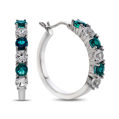 Lab-Created Emerald & White Sapphire Sterling Silver Hoop Earrings