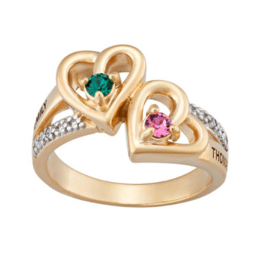 jcpenney.com | Personalized Diamond-Accent Couple's Name Birthstone Heart Ring
